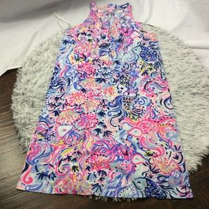 Lilly Pulitzer blue pink sundress with ruffles